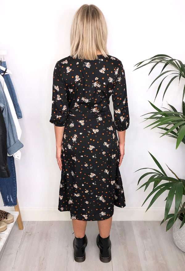 Alissa Spot & Floral Midi Dress