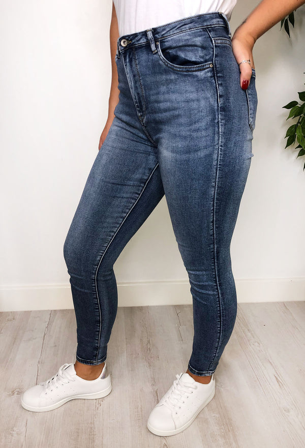 Dakota High Waist Skinny Jeans - Blue