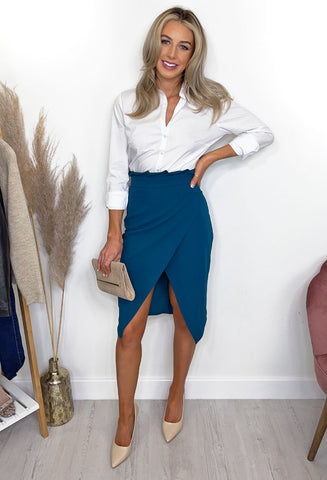 Lillie Pleat Waist Midi Skirt - Teal