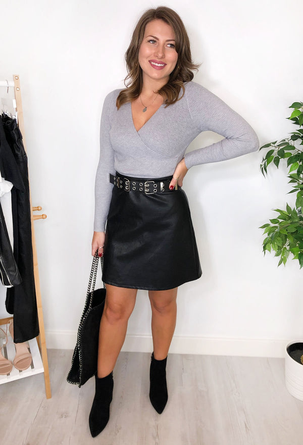 Eve Faux Leather Mini Skirt - Black