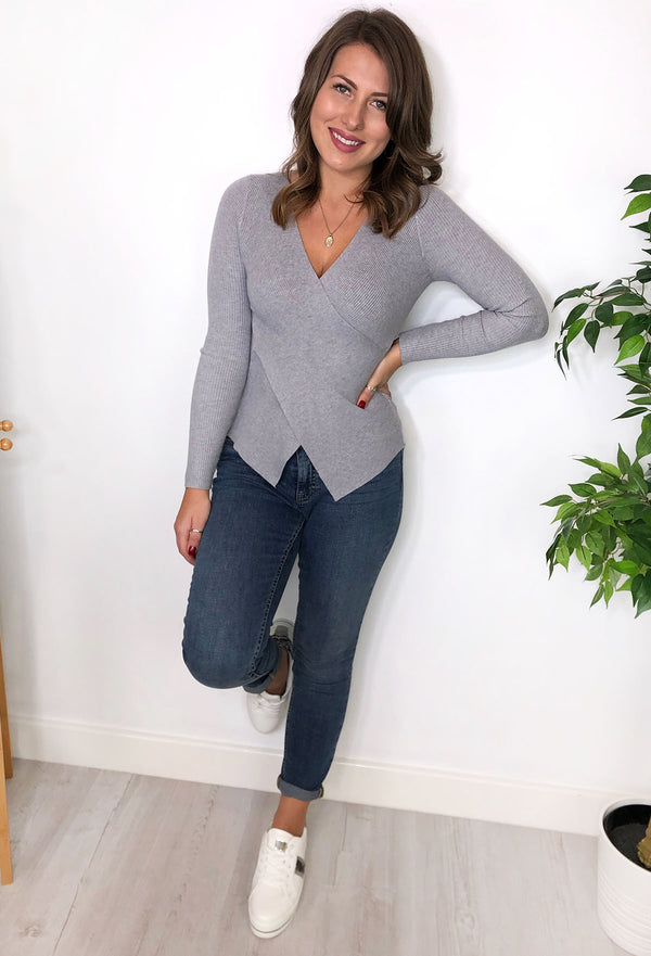 Anelia Ribbed Wrap Over Top - Grey