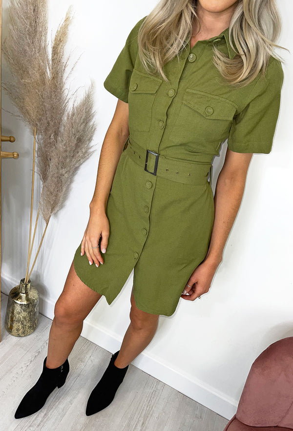 Zaria Khaki Linen Utility Dress