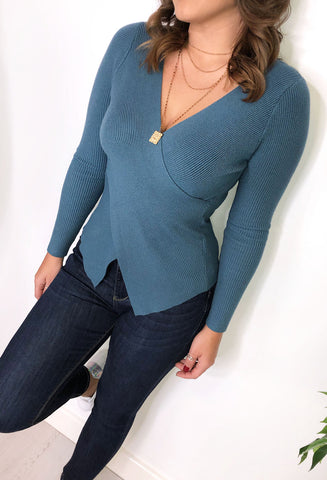 Anelia Ribbed Wrap Over Top - Blue