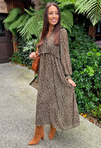 ONLY High Neck Leaf Print Midi Dress