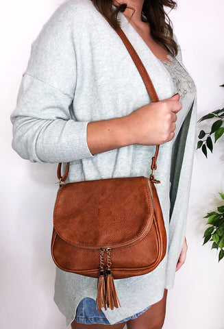 Estella Shoulder / Cross Body Bag - Tan
