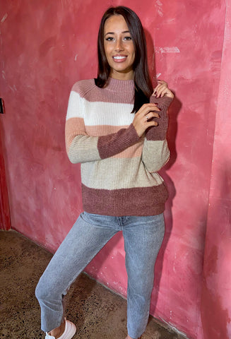 ONLY Jade Striped Pullover - Apple Butter