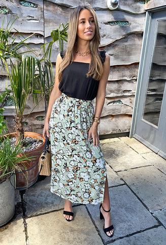 ICHI Izzy Maxi Skirt - Green Floral