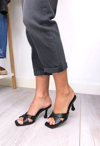 Gina Square Toe Mule - Black