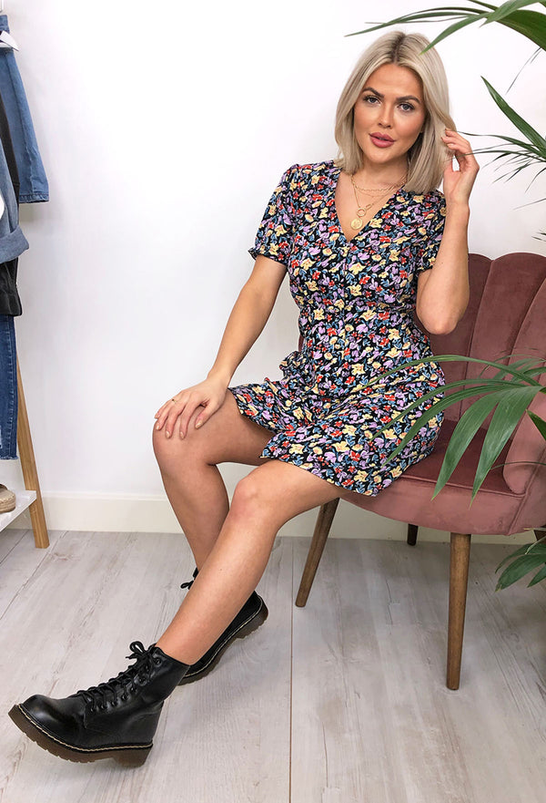 Lisa Ditsy Floral Button Down Tea Dress