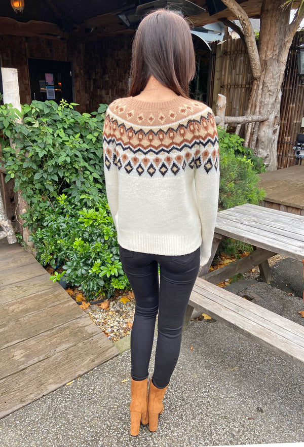 ONLY Phantom Jaquard Pullover - Cream & Beige