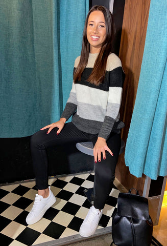ONLY Jade Striped Pullover - Pumice Stone