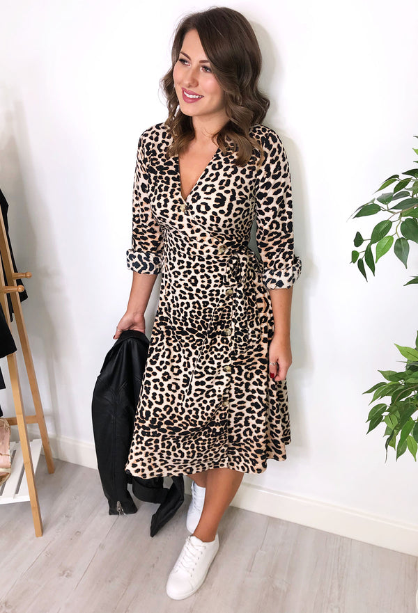 Corrine Leopard Print Midi Dress