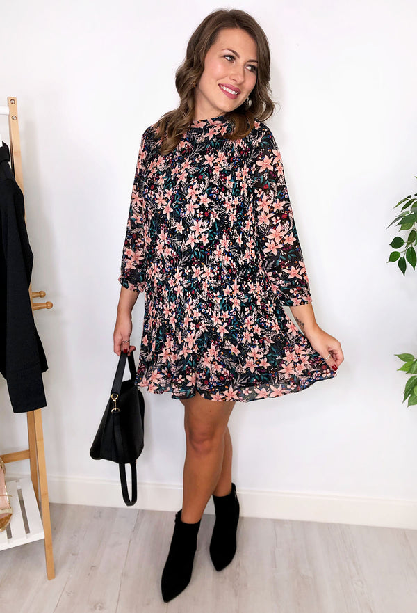 Debbie Floral Pleated Shift Dress Black and Pink