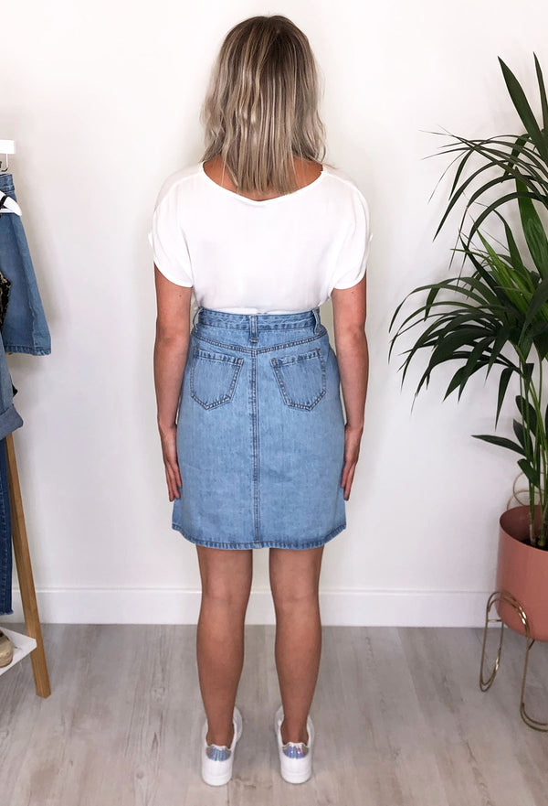 Bryony Button Down Denim Mini Skirt