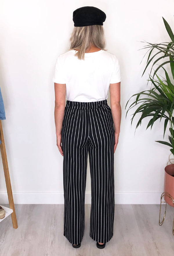 Sheena Monocrome Wide Leg Stripe Jersey Trousers
