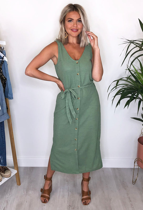 Ichi Aubrie Button Through Midi Dress