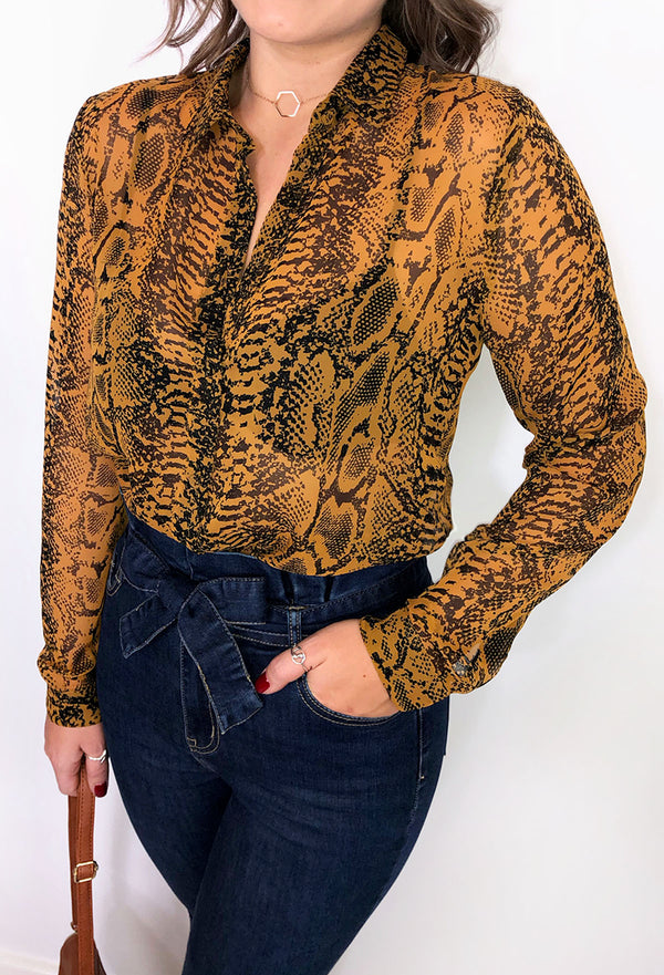Tallie Long Sleeved Sheer Shirt - Snake