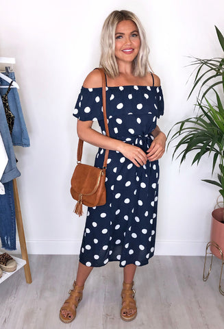 Ichi Marrakech Dress -  Navy Spot