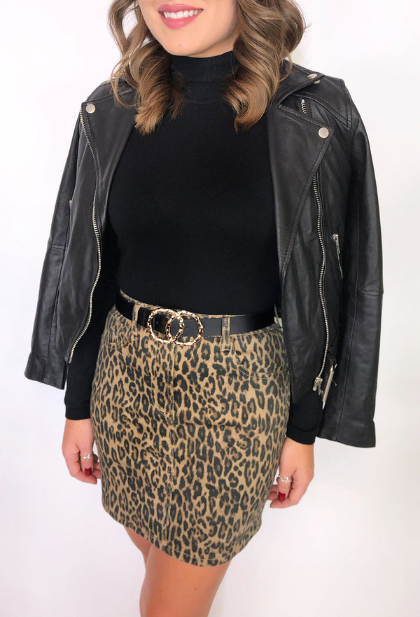 Sia Leopard Print Denim Mini Skirt