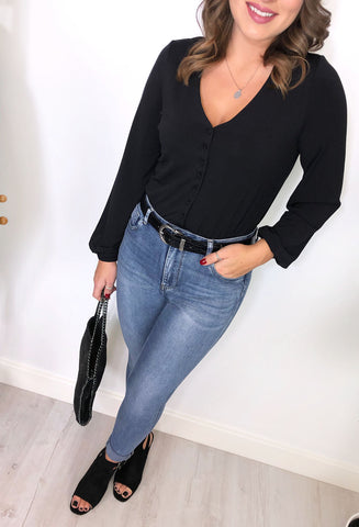 Charlotte Button Down Black Bodysuit