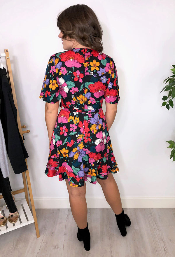 Amelie Floral Retro Wrap Skater Dress