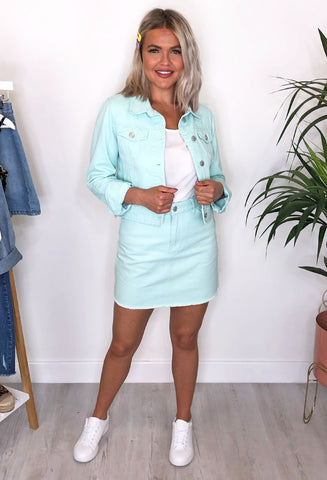 Fiona Denim Jacket - Mint
