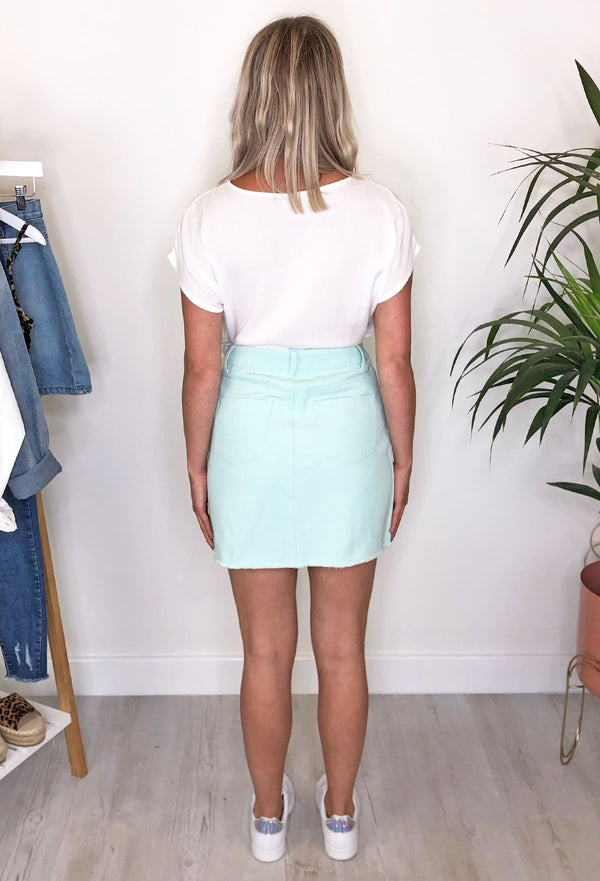 Miami Denim Skirt - Mint