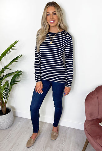 FRANSA Kaya Striped Pullover - Navy