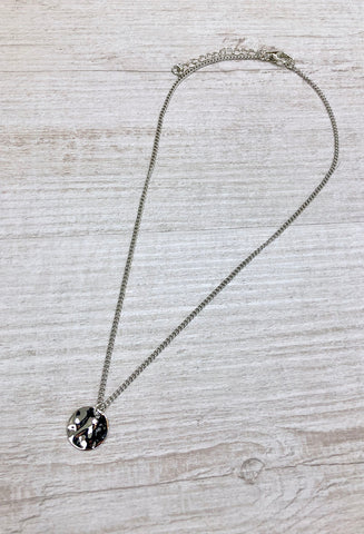 Kansas Hammered Single Coin Necklace - Silver