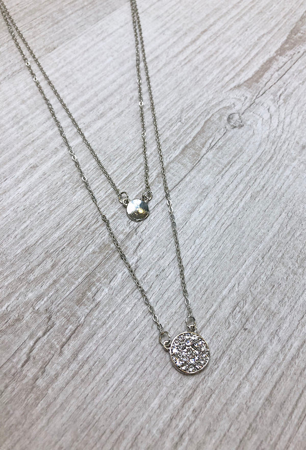 Rea Drop Coin Necklace - Silver