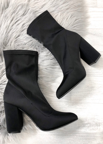 Aubrey Black Stretch Boots - Black