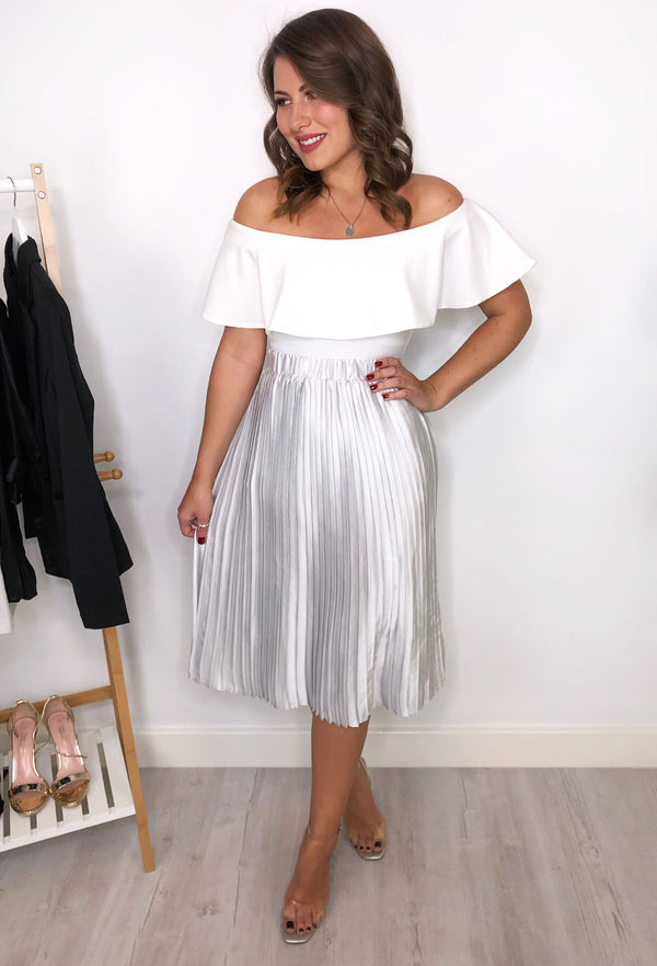Pippa Pleated Skirt - Silver