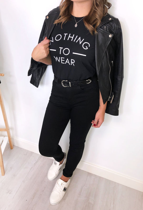 'Nothing To Wear' Slogan T-Shirt - Black