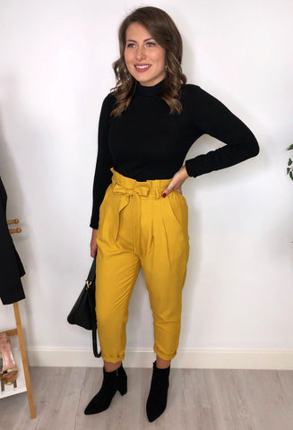 Riley Paper-Bag Waist Trousers  - Yellow