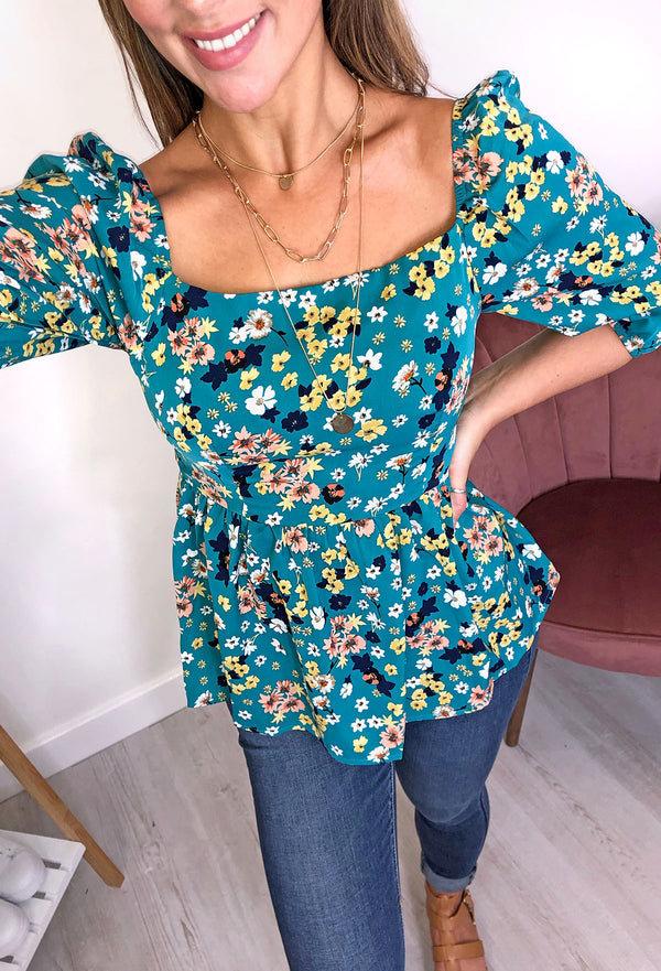 Tanya Puff Sleeves Peplum Top - Green