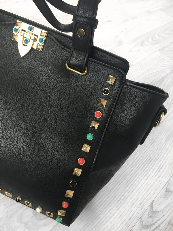 Morocco Studded Shoulder Bag - Black