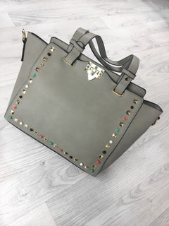 Morocco Studded Shoulder Bag - Grey