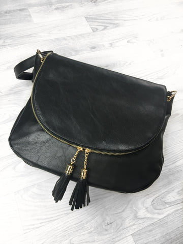 Rome Tassel Cross Body Bag - Black