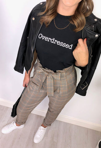 'Overdressed' Slogan T-Shirt - Black