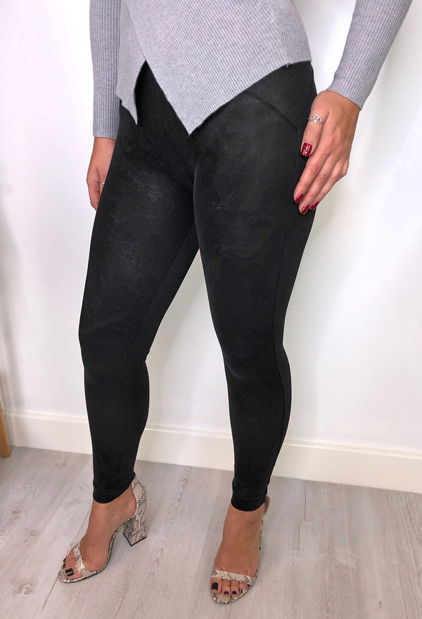 Catia Suedette Look Leggings - Black