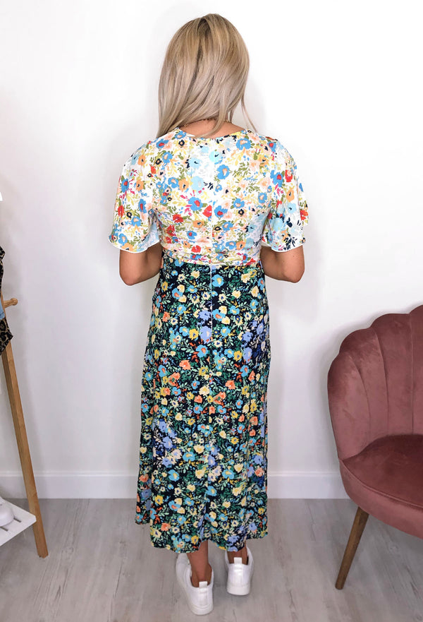 Lotus Split Leg Floral Midi Dress