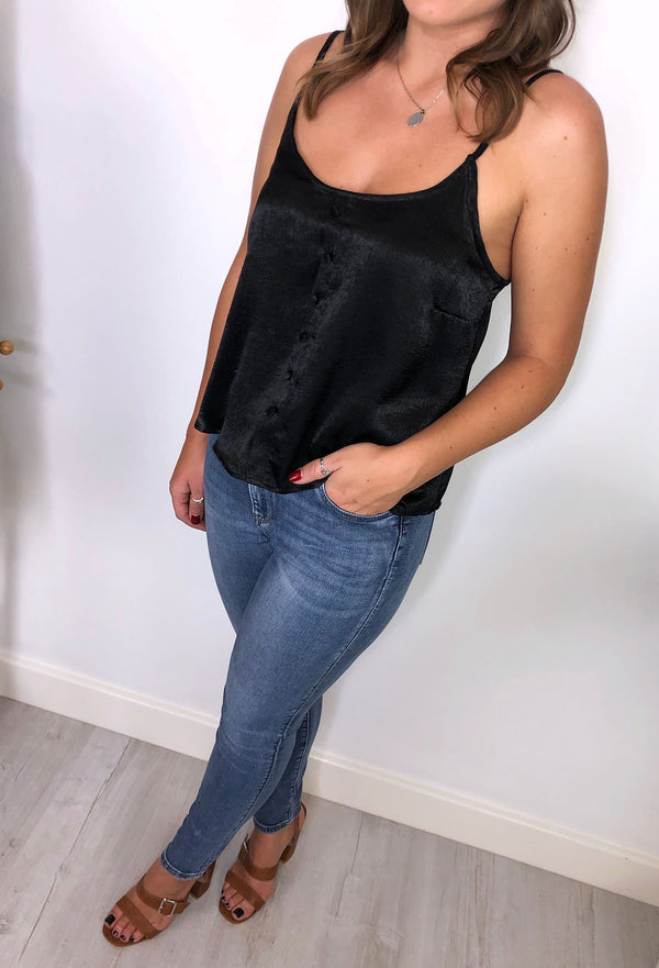 Maya Button Down Cami - Black