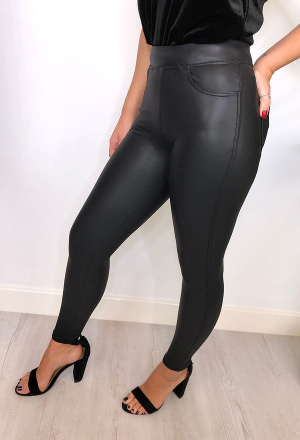 Pocket Pants - Leather look leggings