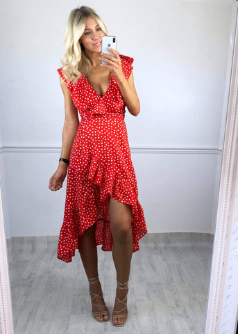 Shauni Polka Dot Frill Dress - Red
