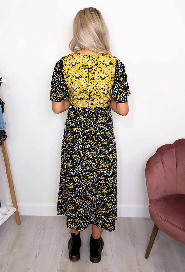 Lotus Split Leg Floral Midi Dress - Black & Yellow