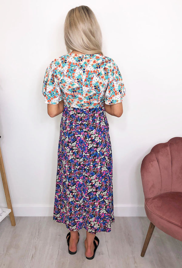 Lotus Split Leg Floral Midi Dress - Purple