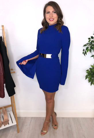 Azura High Neck Cobalt Blue Dress