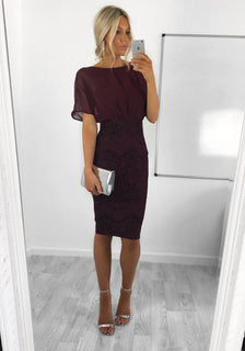 Emily Wine Lace Midi Dress