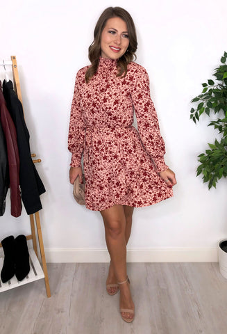 Lilliana High Neck Floral Dress - Pink / Red