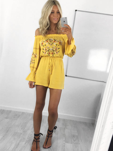 Alana Embroidered Bardot Playsuit